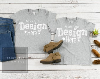 Download Free Matching Brother Sister Youth Shirt Mockup Bella Canvas 3001Y Youth Athletic Heather Shirt Mock Up, Youth tShirt Mockup, Kids Shirt Mockup, PSD Template