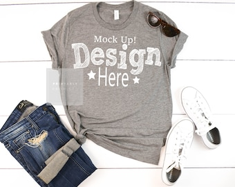 Download Free Grey Shirt Mock Up Grey Triblend Bella Canvas Ladies 8413 MockUp Summer T Shirt Mock up Shirt Photo Image Apparel Mock-up Flatlay Outfit PSD Template