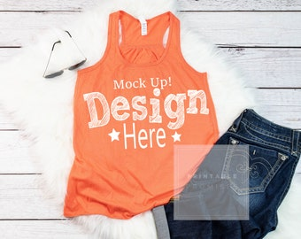 Download Free Tank Top Mockup Shirt Bella Canvas 8800 Coral Tank Mock Up Peach Tank Top Summer Spring Mockup Shirt Image Photo Stock PSD Template