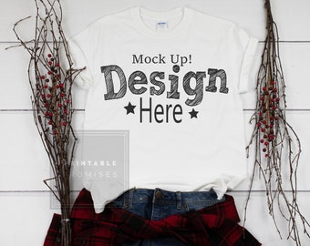 Download Free Gildan White Shirt Mock-Up Christmas Plaid Shirt Mock Up Flatlay Product Display For SVG JPEG Download PSD Template