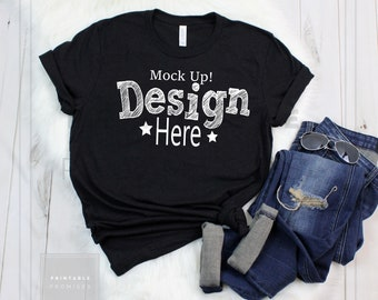 Download Free Bella Canvas 3001 Black Heather T-Shirt Mock Up, Mock Up Shirt Mockup, Women T-Shirt Mockup, Stock Photo, Outfit Mock-Up, Flatlay Mock Up PSD Template