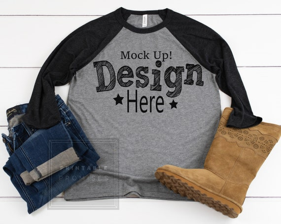 6b224cdee Bella Canvas 3200 Grey Charcoal Raglan Mockup Raglan T-Shirt