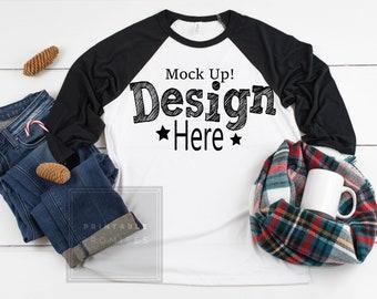 d1c39d225 Christmas Mockup Bella Canvas 3200 White Black Raglan Mockup Raglan T-shirt  Mockup Shirt Flat