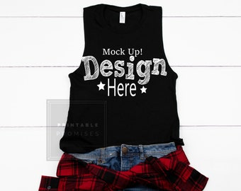 8e6932aa5c2af1 District Made DT6301 Black Tank Top Mock-up Shirt Flatlay Blank Photo  Product Christmas Mockups