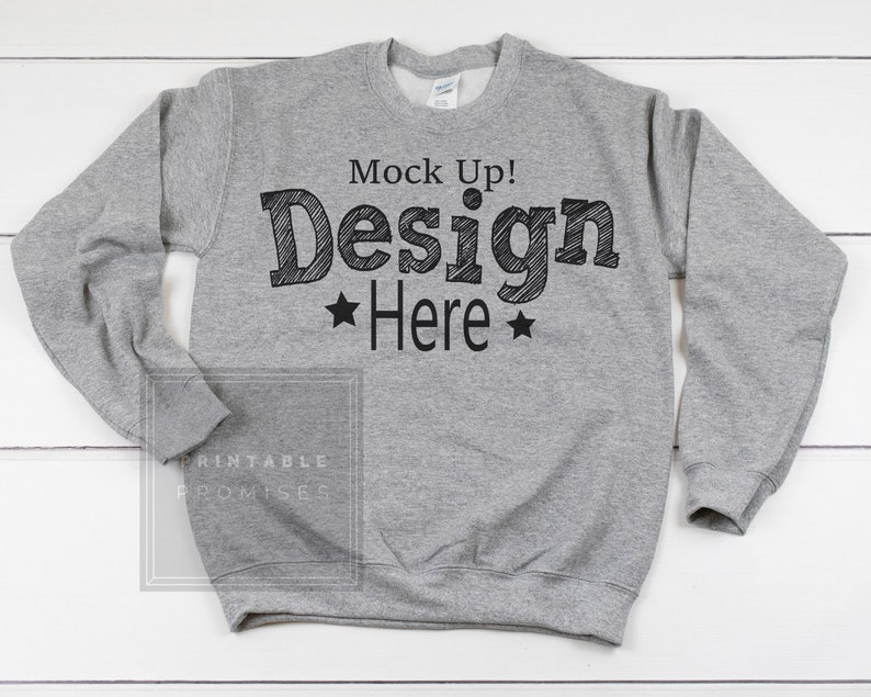 3f528e86 Sweatshirt Mockup Sport Grey Crew Neck Sweatshirt Display | Etsy