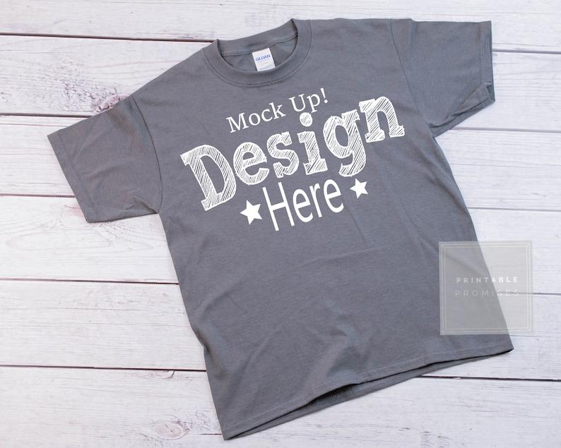 b7bc7661 Gildan 500B Charcoal Youth tshirt Mock-up Charcoal Shirt | Etsy