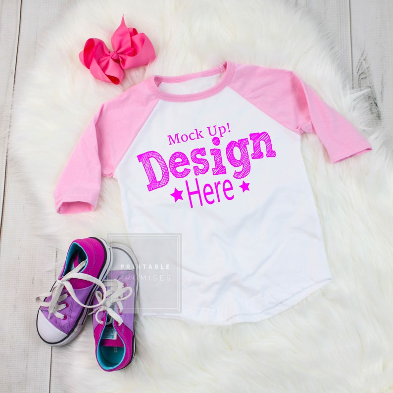 5f6308b2db8d9 Pink Raglan Mock up T Shirt Mock up, Youth Raglan Flatlay Shirt, Girls  Shirt Blank Photo, Kids Shirt Mockup, Shirt Display, JPEG Download