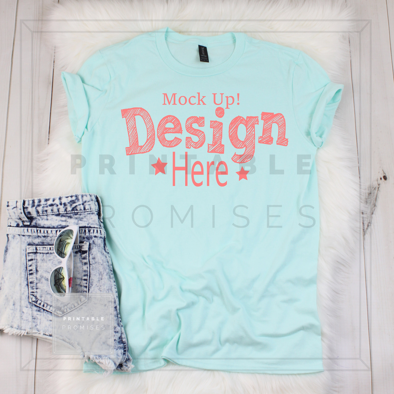 Anvil Mock Up Shirt Anvil 980 Teal Ice Mockup Shirt Anvil Mock Ups TShirt MockUp Flatlay Photography Ladies Shirt Mock Up