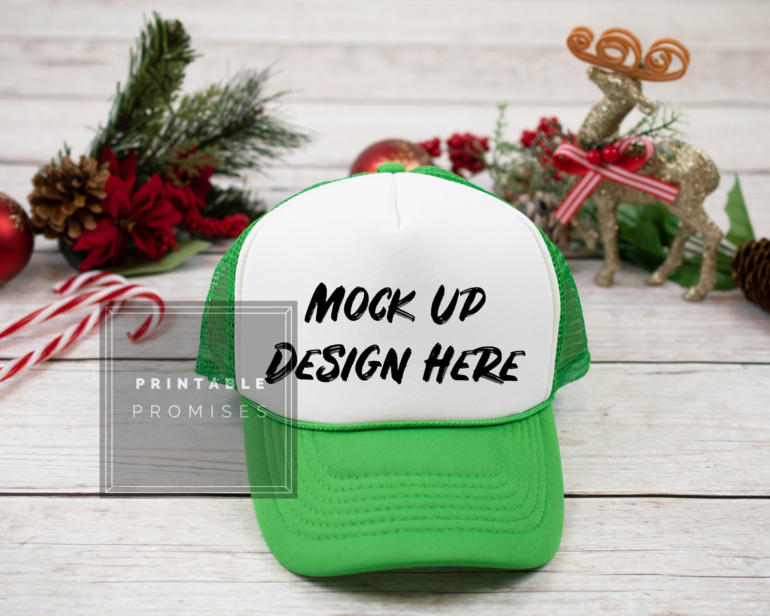 0d5c17c478030 Christmas Kelly Green Trucker Hat Mock-upss Mock Up Baseball