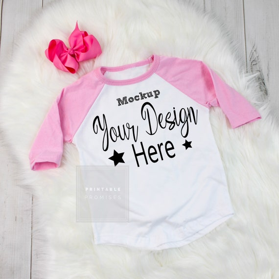 446c94e2d3886 Pink Girls Raglan Mock Up T Shirt Mock up, Girls Shirt Blank Photo, Kids  Shirt Mockup, Shirt Display, JPEG Download