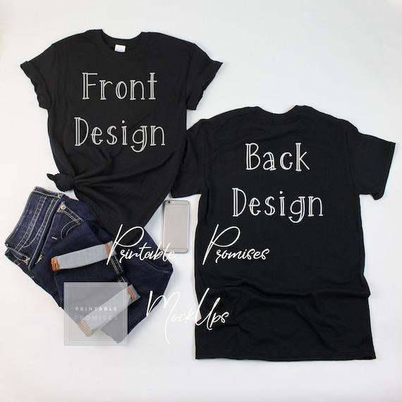 front back black feminine gildan 500 mock up shirt feminine etsy