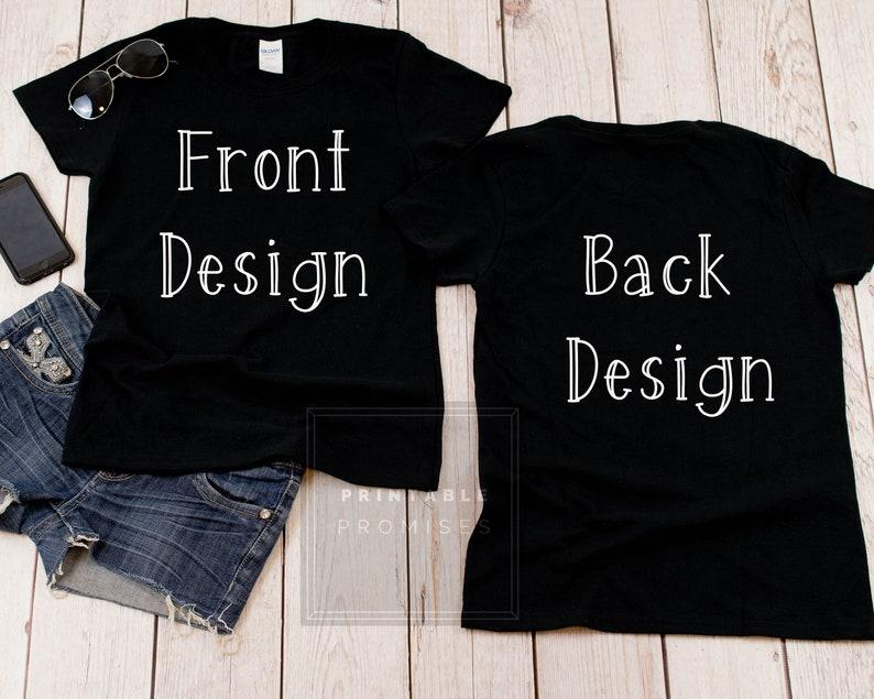 Ladies Mock Up Front Back Gildan 500L Black Shirt Mock Up JPG Photo Mock Up Front and Back  Shirt Matching Shirts Women tshirt