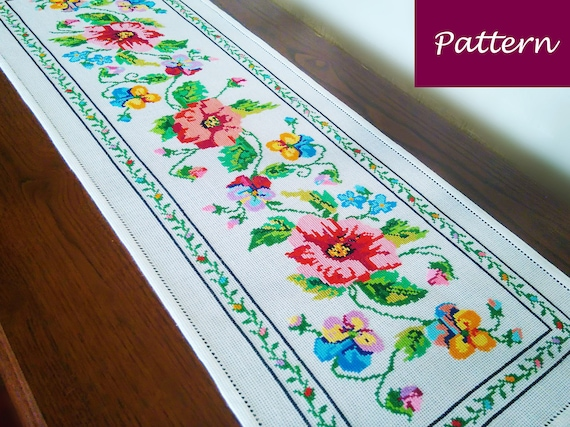 Cross Stitch Pattern Colorful Tablecloth With Flowers Diy Etsy