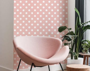 Polka Dot Pink Wallpaper - Dots Pattern - Cute Pattern - Removable Wallpaper - Peel and Stick - Self Adhesive - Wall Decor - Wall Decal - 53
