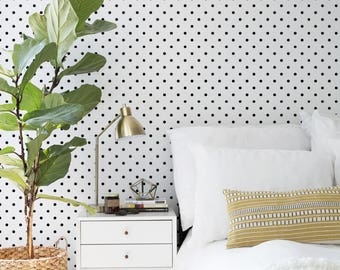 Polka Dot Small Wallpaper - Dots Pattern - Black and White Pattern - Removable Wallpaper - Peel and Stick - Adhesive -Wall Decal -Mural - 54