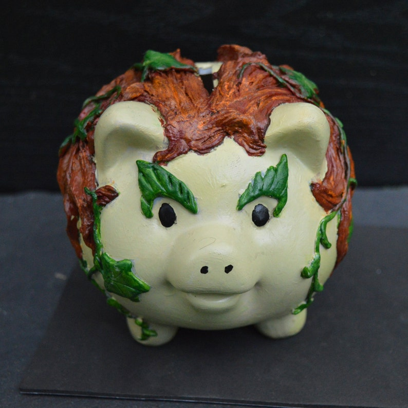 Pigs in Cosplay Piggy Ivy Piggy Bank inspired by DC comics Poison Ivy