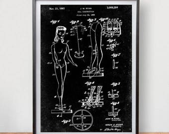 cee98ab7fca3 Barbie Doll Construction 1 Patent Poster Game Room Vintage Art Retro Print  Home Wall Decor