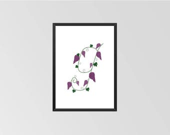 The letter G - Print (Grapes)