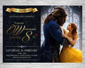 Beauty And The Beast Birthday Invitation Party Invite Disney Princess Belle Printable