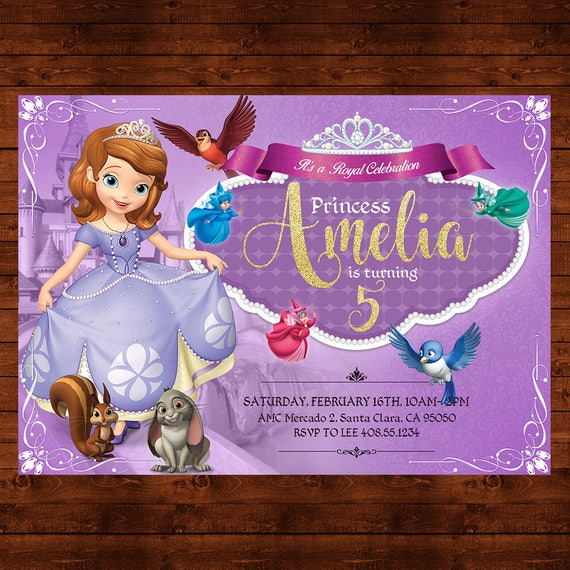 Sofia The First Birthday Invitation Party Invite