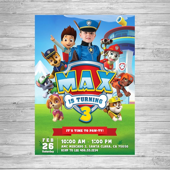 Paw Patrol Boy Birthday Invitation Party Printable Chase Invite Theme