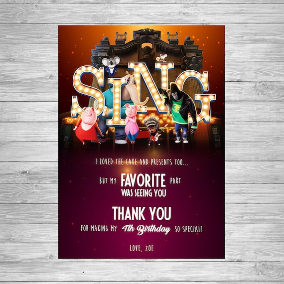 Sing Movie Birthday Thank You Card Printable Party Supplies Invitation
