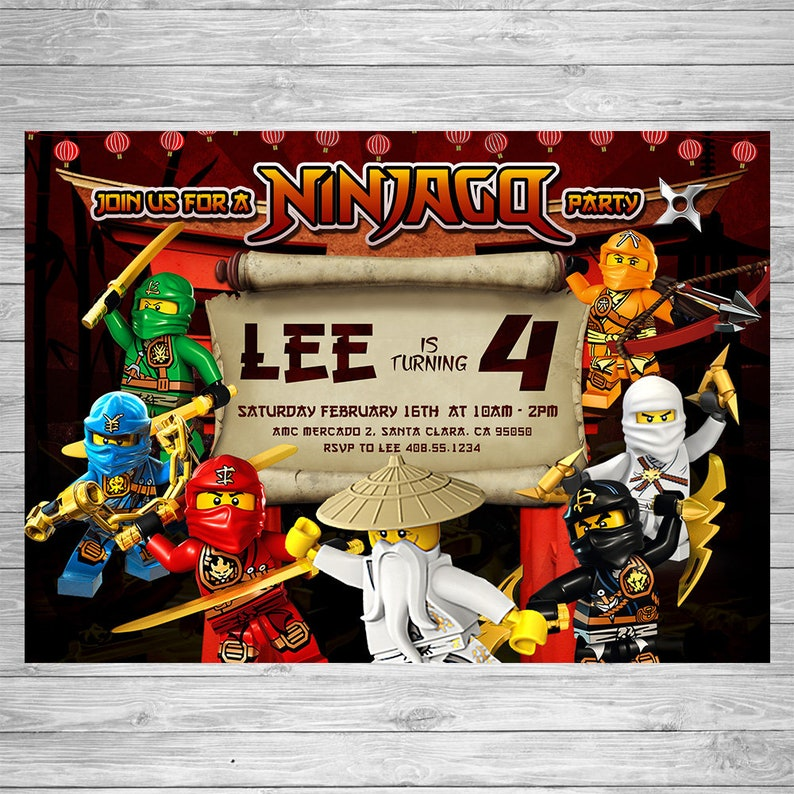 Lego Ninjago Birthday Invitation Party Printable Ninja Card Theme
