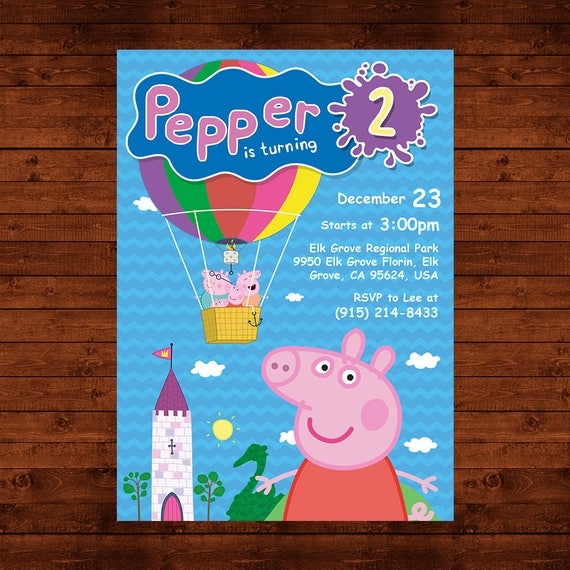 photograph about Peppa Pig Printable Invitations named Peppa Pig Invitation, Peppa Pig Birthday Invite, Peppa Pig