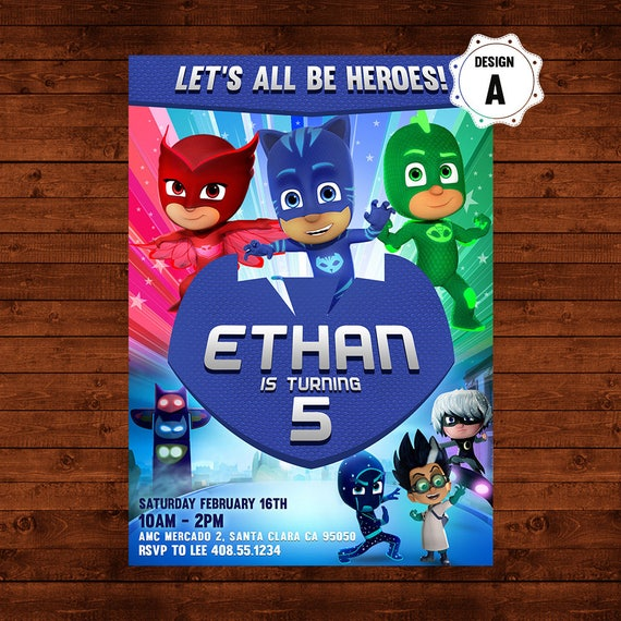 picture relating to Pj Masks Printable Images named Pj Masks Birthday Invitation, Pj Masks Invite, Pj Masks