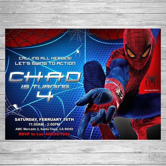 Spiderman Birthday Invitation Printable Invite Party Amazing Card Superhero Theme