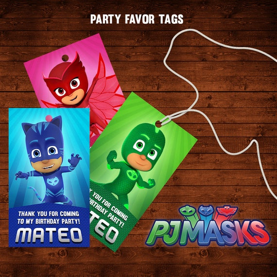 Pj Masks Birthday Favor Tags Thank You Party Labels Printable Catboy Owlette