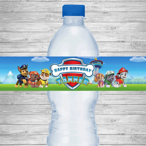 graphic relating to Free Printable Water Bottle Labels for Birthday called Paw Patrol H2o Bottle Labels, Paw Patrol Birthday Bash