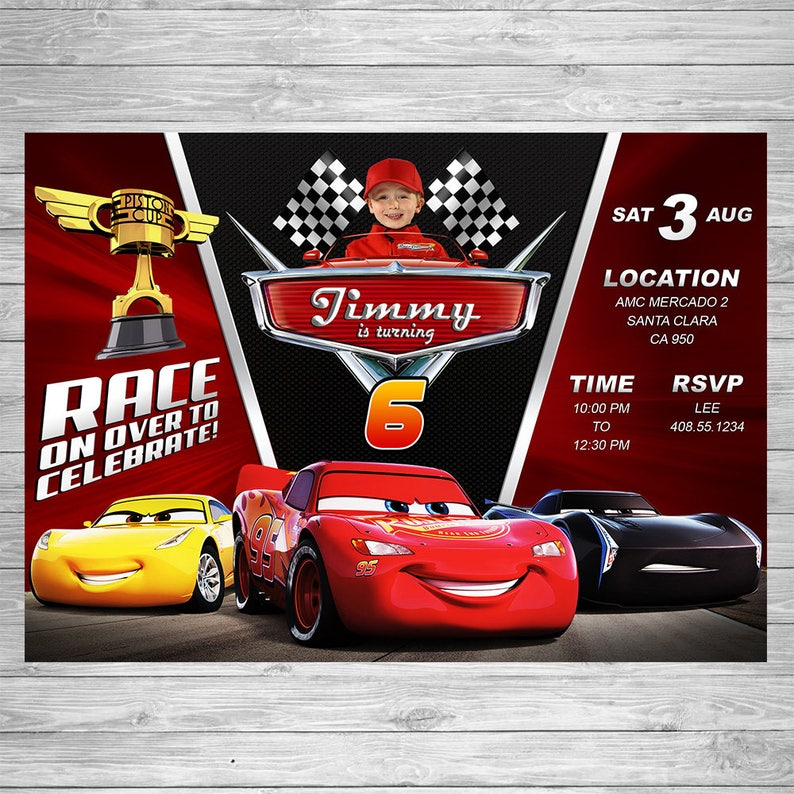 Disney Cars 3 Birthday Invitation Party Invite