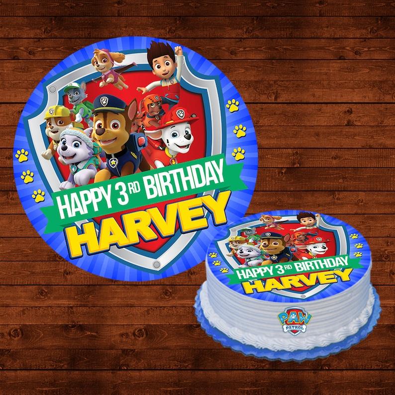 Paw Patrol Birthday Cake Topper Edible Round