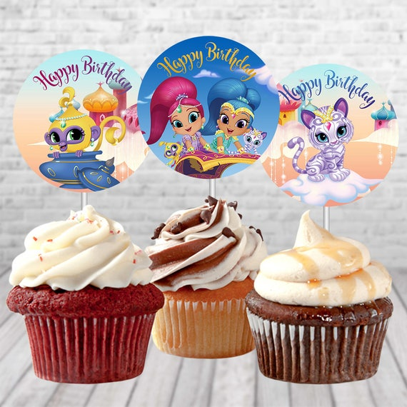Shimmer And Shine Birthday Cupcake Toppers Decoration Printable Party Supplies Genie