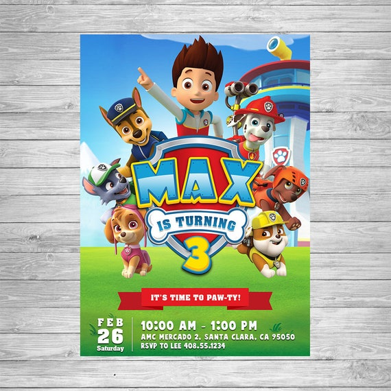 Paw Patrol Birthday Invitation Invite
