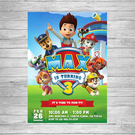 picture regarding Printable Paw Patrol Invitations known as Paw Patrol Invitation, Paw Patrol Birthday Invite, Paw