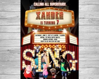 Sing Movie Invitation, Sing Movie Birthday, Sing Movie Party Invite, Sing Movie Birthday Party, Sing Movie Printable, Sing Movie Party Theme