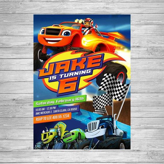 Blaze And The Monster Machines Birthday Invitation Party Invite Printable Trucks
