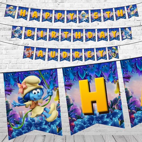 De Banner Van De Verjaardag Van De Smurfen Smurfen Afdrukbare Etsy
