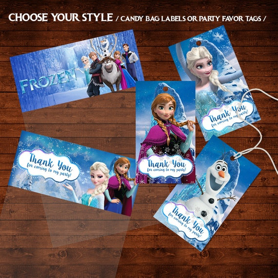 image about Frozen Printable Labels named Frozen Birthday Like Tags, Frozen Thank Oneself Tags, Frozen