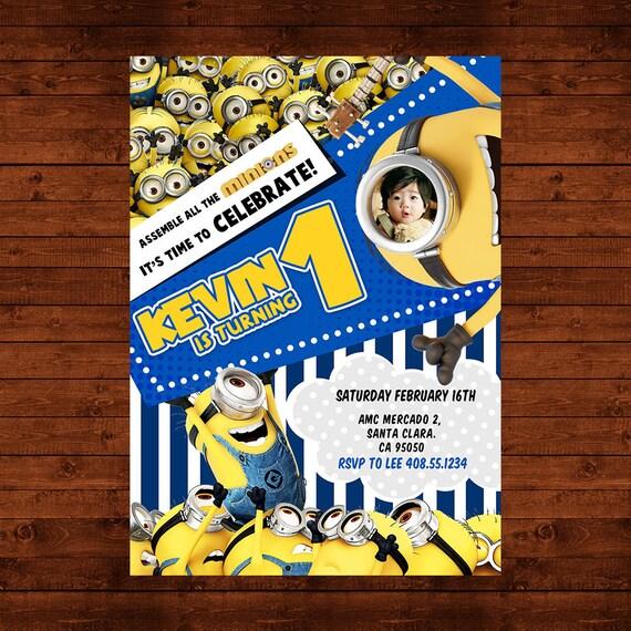 Minions Birthday Invitation Party Invite Despicable Me