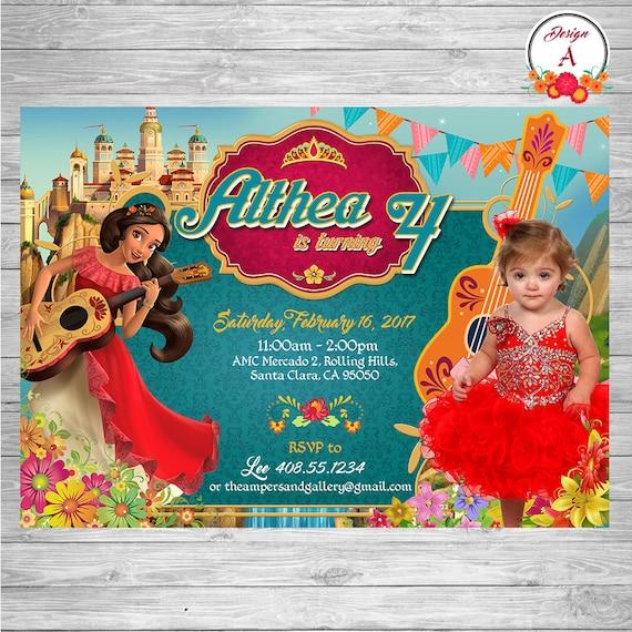 Elena Of Avalor Birthday Invitation Invite Printable Princess Party Disney Theme