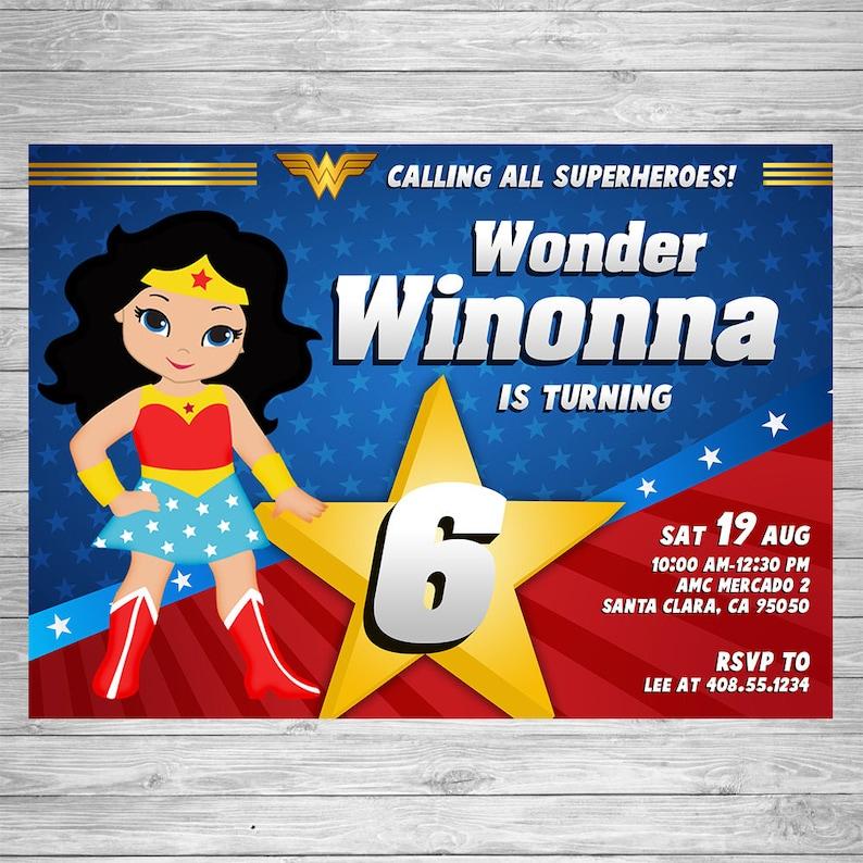 Wonder Woman Birthday Invitation Party Invite
