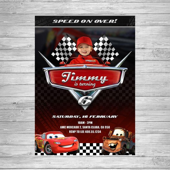 Disney Cars Birthday Invitation Cars Party Invite Lightning