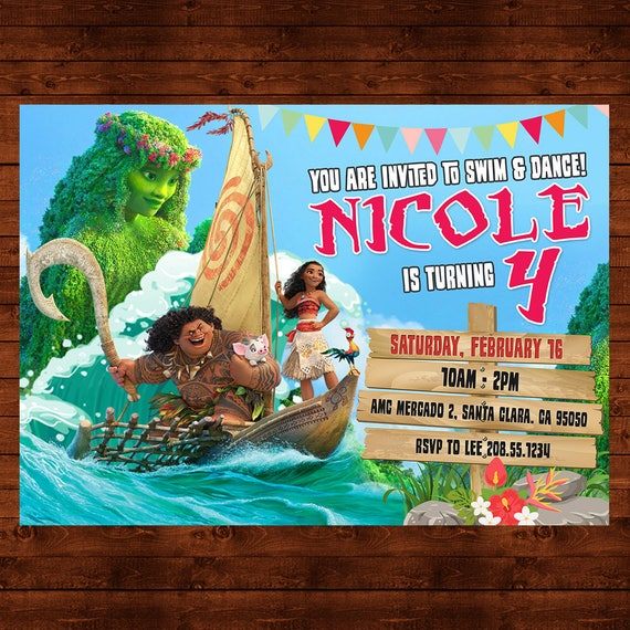 Moana Birthday Invitation Party Invite Disney Printable Maui Theme Princess