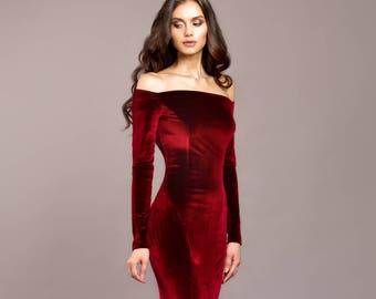 Burgundy velvet dress, Burgundy dress, special occasion dress, Sexy dress, Long dress, Maxi dress, Evening dress, mermaid, open shoulders
