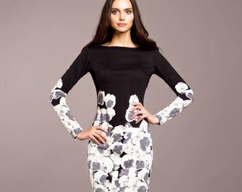 Black dress, casual dress, pencil dress, midi dress, long sleeve dress, printed dress, Bodycon dress, sheath dress, elegant work dress