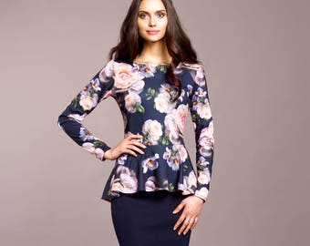 Casual Navy dress, Bodycon dress,  floral peplum dress, floral dress, sheath dress, pencil dress, work dress, midi dress, knee length