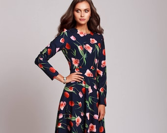 Long floral dress, navy dress